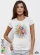 Aquarelle Bouquet Дамска бяла тениска с дизайнерски принт от органичен памук