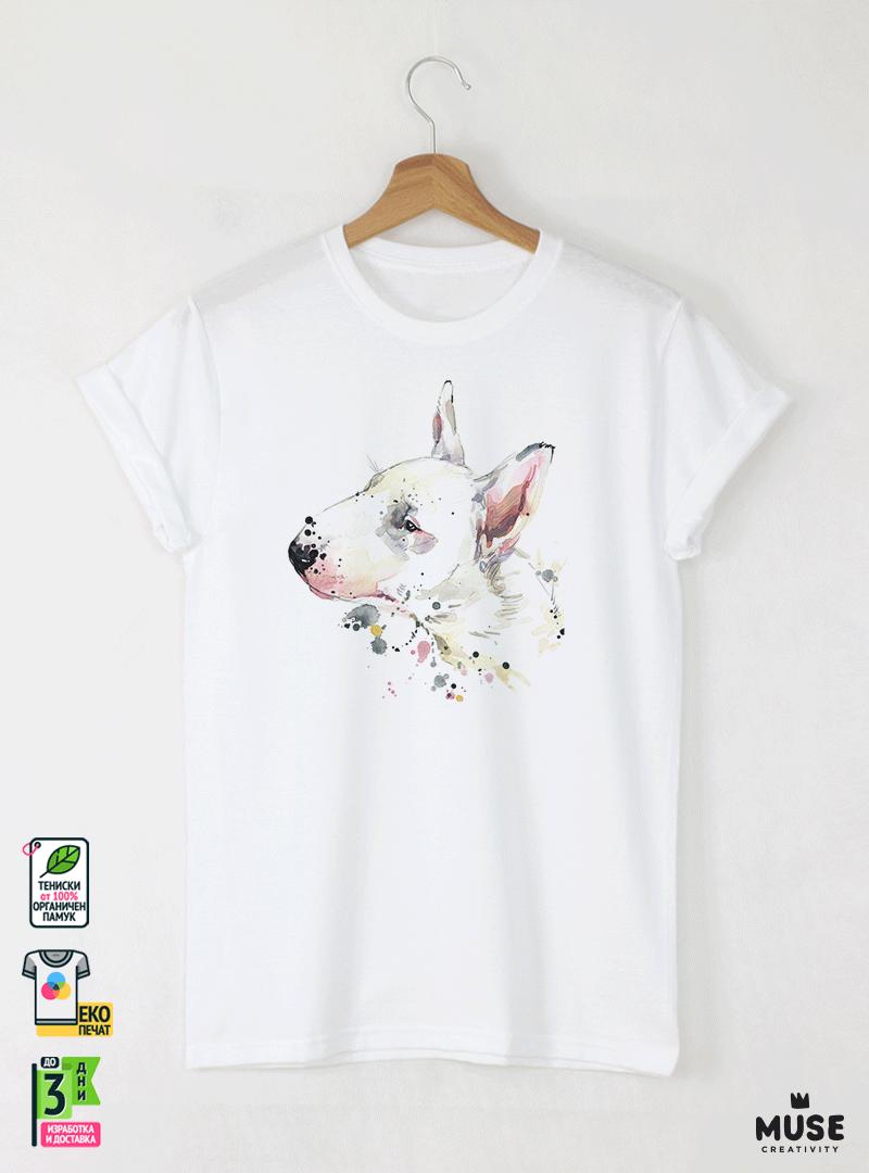 Aquarelle Bull Terrier Детска Бяла Тениска за момче с Дизайнерски Принт