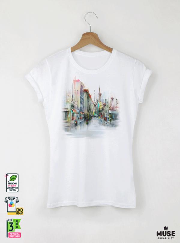 Aquarelle Town Дамска бяла тениска с дизайнерски принт Азиатски Размер