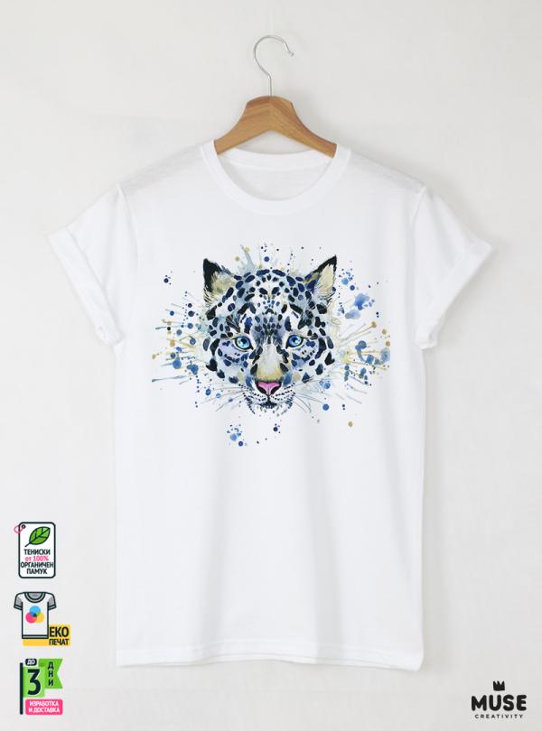 Aquarelle Whiter Tiger Мъжка Бяла Тениска с Дизайнерски Принт