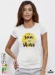 Sun And Stars Дамска Бяла Тениска С Дизайнерски Принт От Органичен Памук