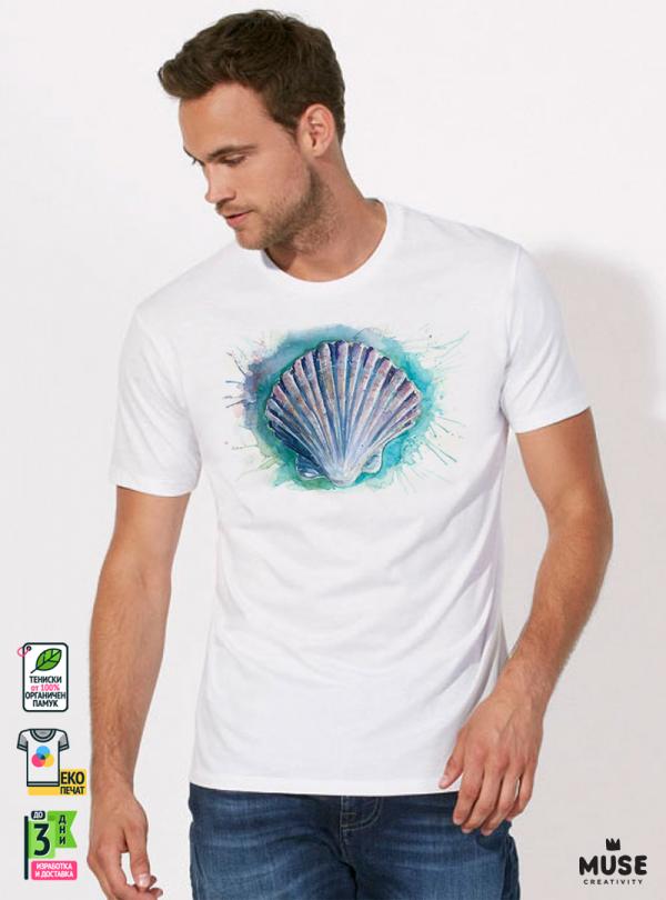 Aquarelle Scallop Shell Мъжка Бяла Тениска с Дизайнерски Принт От Органичен Памук