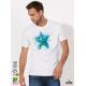 Aquarelle Starfish Мъжка Бяла Тениска с Дизайнерски Принт