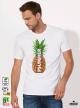 Summer Pineapple Мъжка бяла тениска с дизайнерски принт