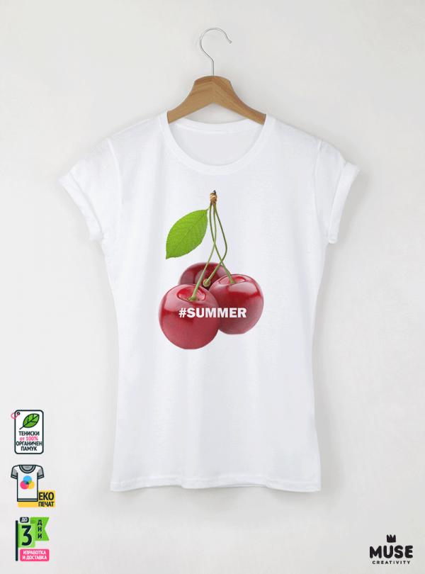 Summer Cherry Дамска бяла тениска с дизайнерски принт Азиатски Размер