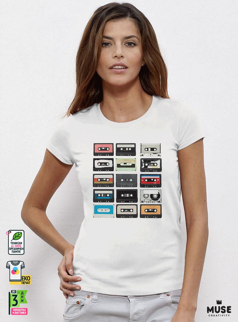 Music Tapes Дамска бяла тениска с дизайнерски принт