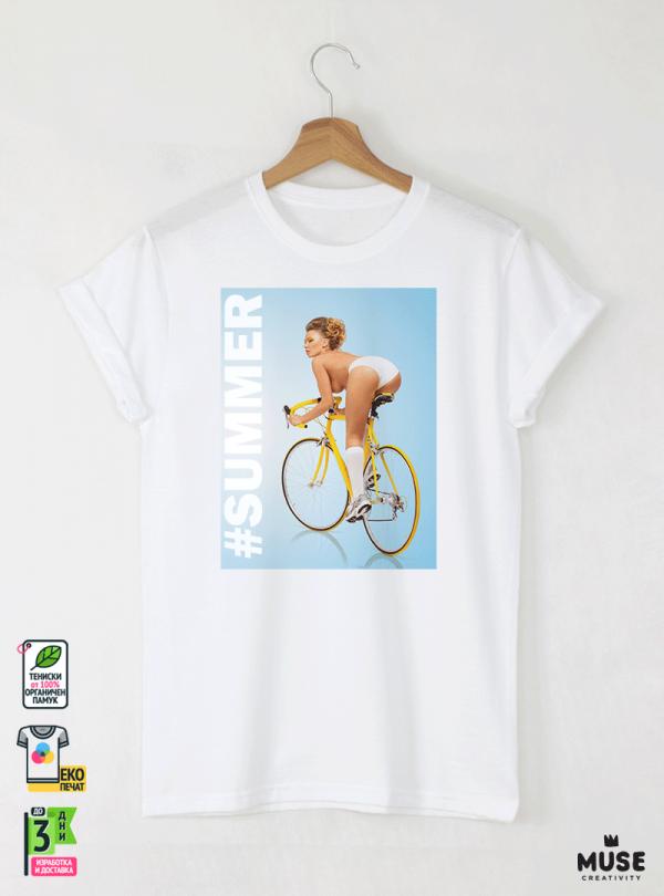 Bicycle Summer Мъжка бяла тениска с дизайнерски принт
