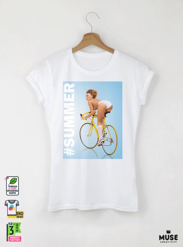 Bicycle Summer Дамска бяла тениска с дизайнерски принт