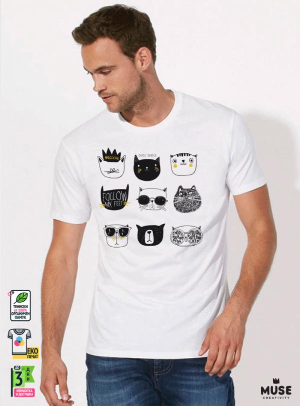 Super Cats Мъжка бяла тениска с дизайнерски принт