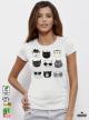 Super Cats Дамска бяла тениска с дизайнерски принт Азиатски размер