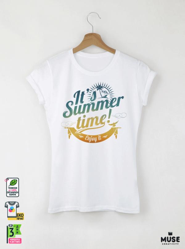 Summer Time  Дамска бяла тениска с дизайнерски принт