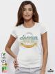 Summer Paradise Дамска бяла тениска с дизайнерски принт
