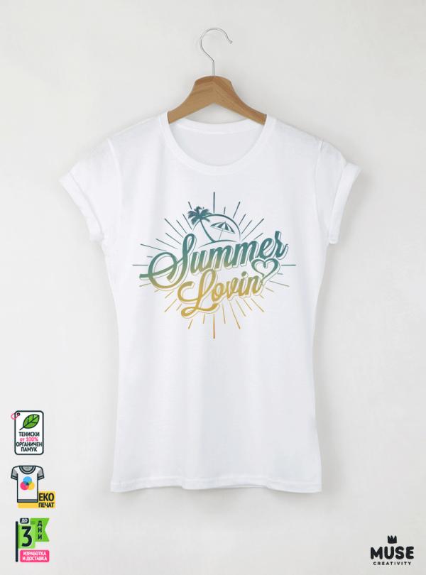 Summer Loving Дамска бяла тениска с дизайнерски принт