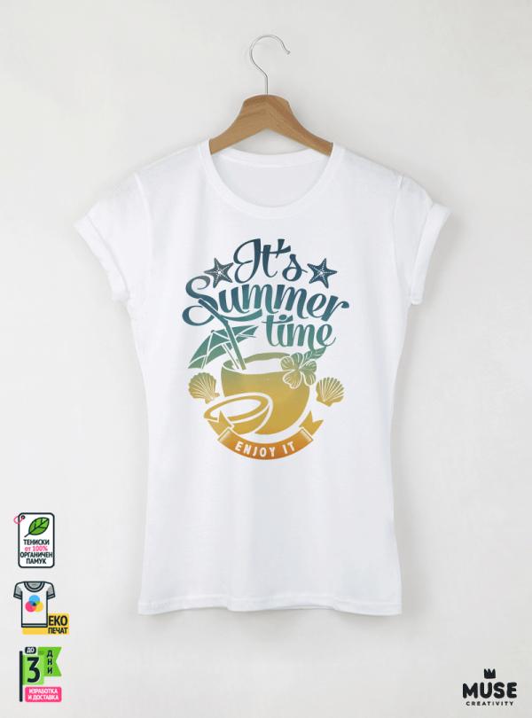 Summer Enjoy Дамска бяла тениска с дизайнерски принт