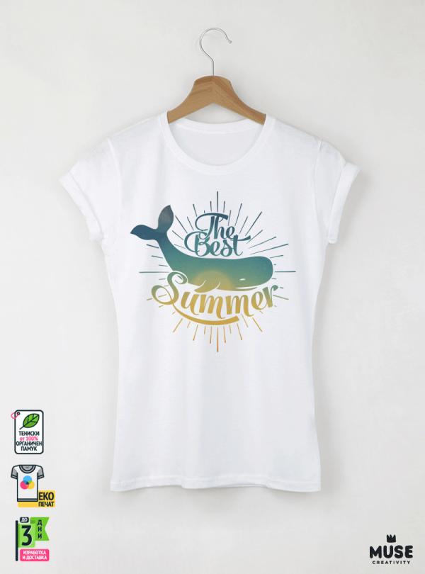 Summer Whale Дамска бяла тениска с дизайнерски принт