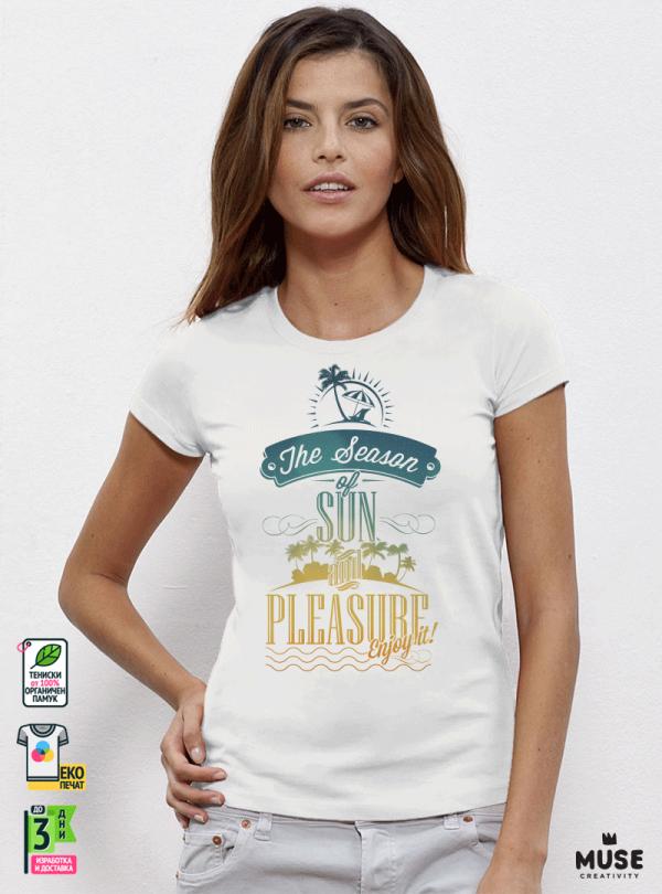 Summer Season Дамска бяла тениска с дизайнерски принт