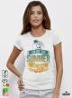 Summer Save Дамска бяла тениска с дизайнерски принт