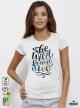Wild And Free Дамска бяла тениска с дизайнерски принт Азиатски размер