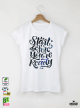 Start Before Дамска бяла тениска с дизайнерски принт Азиатски размер