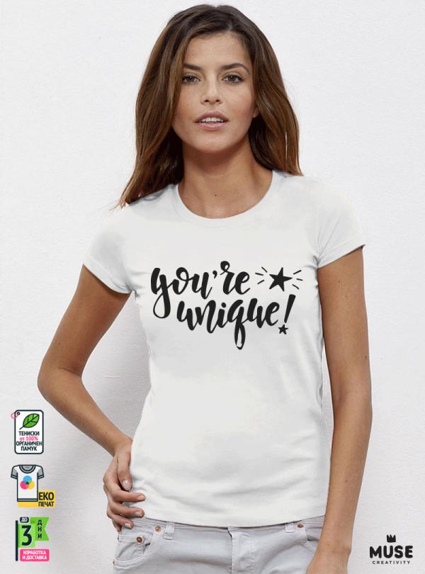 Unique Дамска бяла тениска с дизайнерски принт