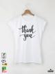 Thank Дамска бяла тениска с дизайнерски принт