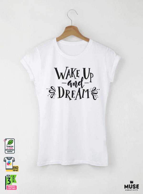 Wake Up Дамска бяла тениска с дизайнерски принт