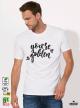 Golden Мъжка бяла тениска с дизайнерски принт