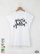 Golden Дамска бяла тениска с дизайнерски принт