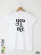 You Me Мъжка бяла тениска с дизайнерски принт