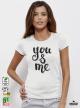You Me Дамска бяла тениска с дизайнерски принт