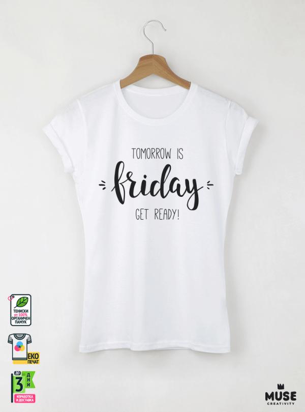 Friday Дамска бяла тениска с дизайнерски принт