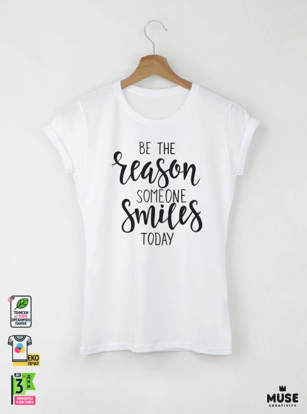 The Reason Дамска бяла тениска с дизайнерски принт