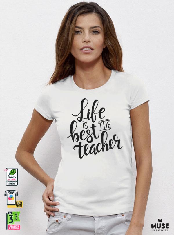 Best Teacher Дамска бяла тениска с дизайнерски принт