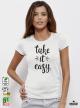 Easy Дамска бяла тениска с дизайнерски принт