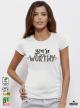 Worthy Дамска бяла тениска с дизайнерски принт