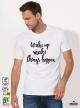 Wake Up Make Мъжка бяла тениска с дизайнерски принт