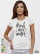 Water Дамска бяла тениска с дизайнерски принт