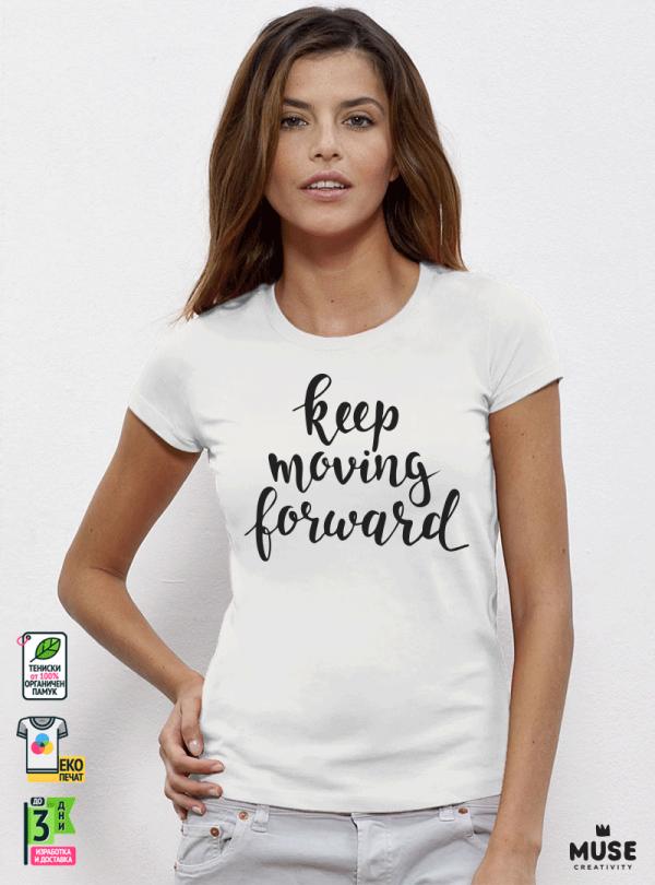 Forward Дамска бяла тениска с дизайнерски принт