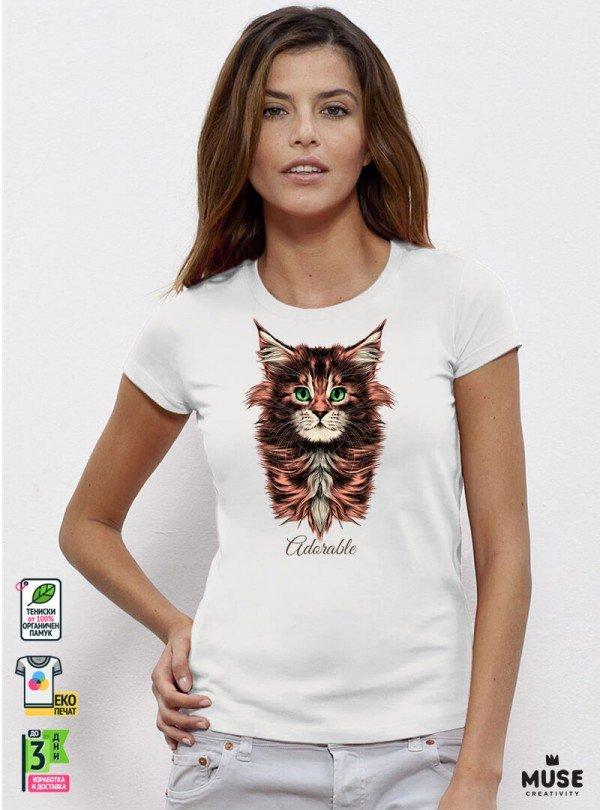 Adorable Cat Дамска Бяла Тениска с дизайнерски принт котки
