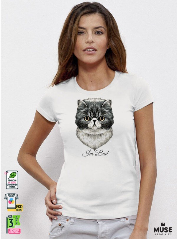 Bad Cat  Дамска Бяла Тениска с дизайнерски принт Котки