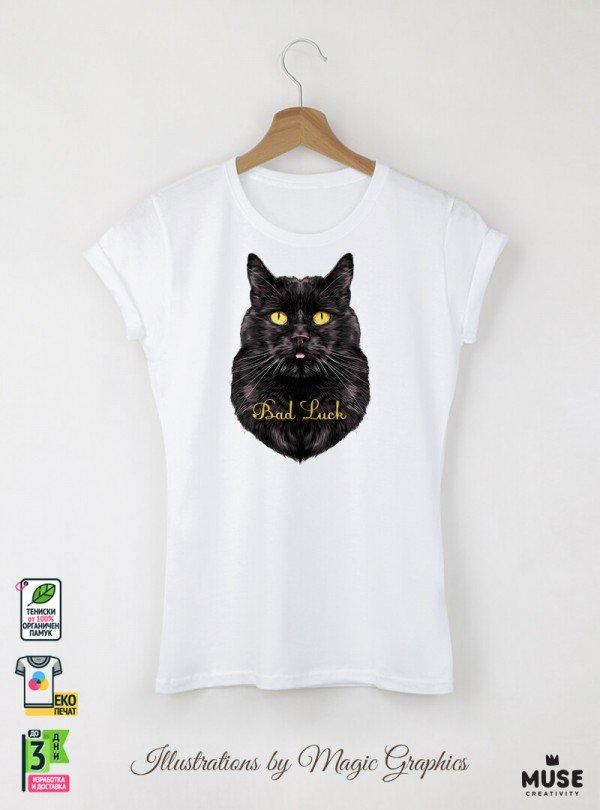 Bad Luck Cat  Дамска Бяла Тениска с дизайнерски принт котки