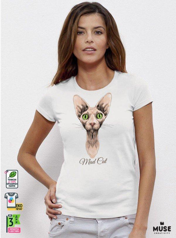 Mad Cat Дамска Бяла Тениска с дизайнерски принт котки
