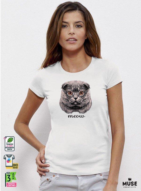 Meow Cat Дамска Бяла Тениска с дизайнерски принт котки