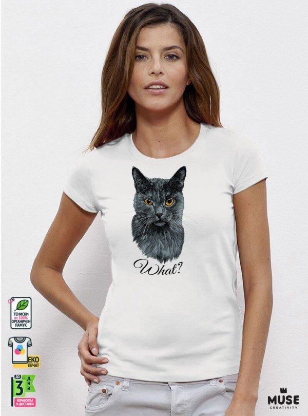 What Cat Дамска Бяла Тениска с дизайнерски принт котки