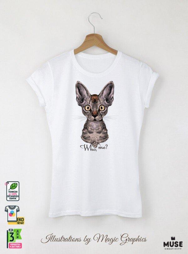 Who Me Дамска Бяла Тениска с дизайнерски принт котки