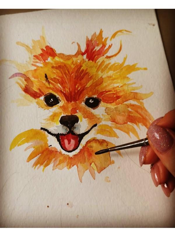 Ръчно рисуван Акварелен Портрет на твоя домашен любимец и Тениска със същия принт