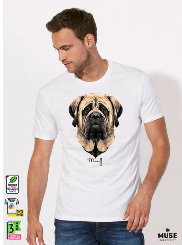 Mastiff Dog Мъжка Бяла Тениска С Дизайнерски Принт