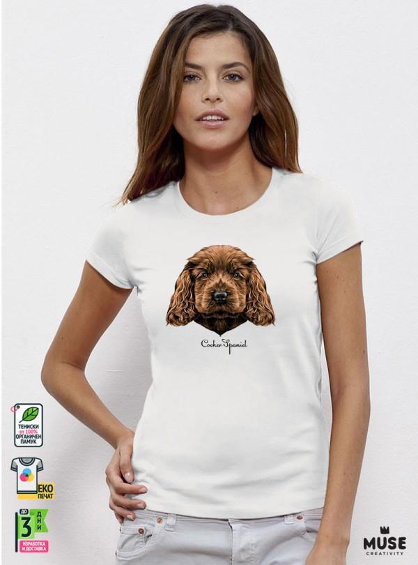 Cocker Spaniel Puppy Дамска Бяла Тениска с Дизайнерски Принт