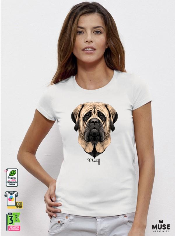 Mastiff Dog Дамска Бяла Тениска с Дизайнерски Принт