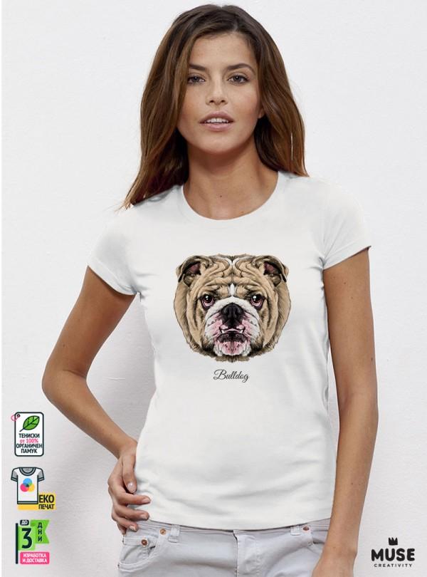 Bulldog Дамска Бяла Тениска с Дизайнерски Принт